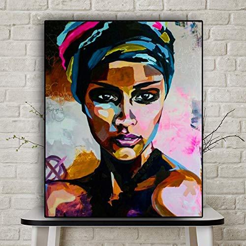 Kunstdrukken van Scandinavische schilderijen, olieverfschilderijen, portret van de Afrikaanse vrouw, abstract van aquarel