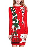 v28 Ugly Christmas Sweater for Women Vintage Funny Merry Knit Sweaters Dress (S, Bear Red)