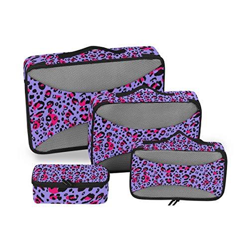 QMIN - Juego de 4 Cubos de Embalaje de Viaje con Estampado de Leopardo, Bolsa organizadora de Maletas de Malla, Bolsa de Almacenamiento para Maletas de Viaje