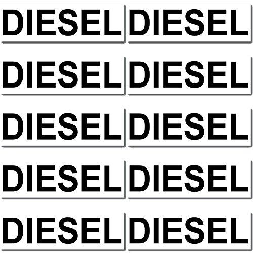 Finest Folia 10 x Aufkleber Kraftstoff Kennzeichnung Tankdeckel Auto Hinweis Brennstoffe AdBlue Benzin Gemisch Diesel Wasser Super (R022-04 Diesel)