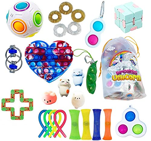 Pop-It Fidget Toys Pack, Sensory Toys Set for Teens, Kids, Adults, Birthday Cheap fidget toys with love heart push pop, pop it with simple Fidget and Sounds for Stress Relief Toys for Autism