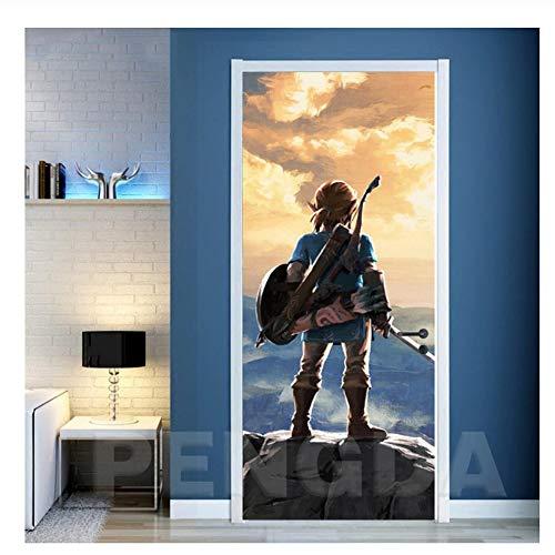 Suuyar Spiel Legende von Zelda Bild Aufkleber 3D Tür Aufkleber Selbstklebendes Dekorationspapier für Wohnzimmer Print Artwork-77x200cm