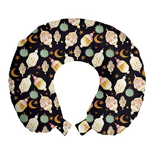 ABAKUHAUS orientalisch Reisekissen Nackenstütze, Traditionelle Laternen Sterne, Schaumstoff Reiseartikel für Flugzeug und Auto, 30x30 cm, Koksgraue und Multicolor