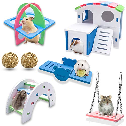 Sfcddtlg 7PCS Rainbow Hamster Toys-Dwarf Hamsters House-Wooden Gerbil Hideout Bridge Swing and Seesaw for Small Animal Gerbil Hamster Hedgehog(7PCS)