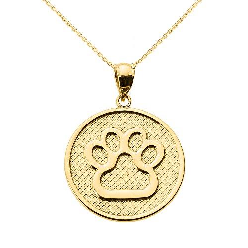 Collar de mujer con colgante de oro amarillo de 14 quilates, diseño de huella de perro disc...