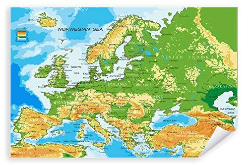 Postereck - Poster 1031 - Europa Karte, Laender Hauptstaedte Englische Schrift Größe 4:3-40.0 cm x 30.0 cm