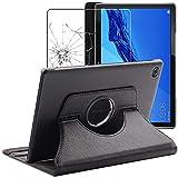 ebestStar - kompatibel mit Huawei MediaPad M5 Lite 10.1 Hülle Tablet 10.1 Rotierend Schutzhülle Etui Ständer, Rotating Hülle, Schwarz +Panzerglas Schutzfolie [M5 Lite 10.1: 243.4x162.2x7.7mm 10.1