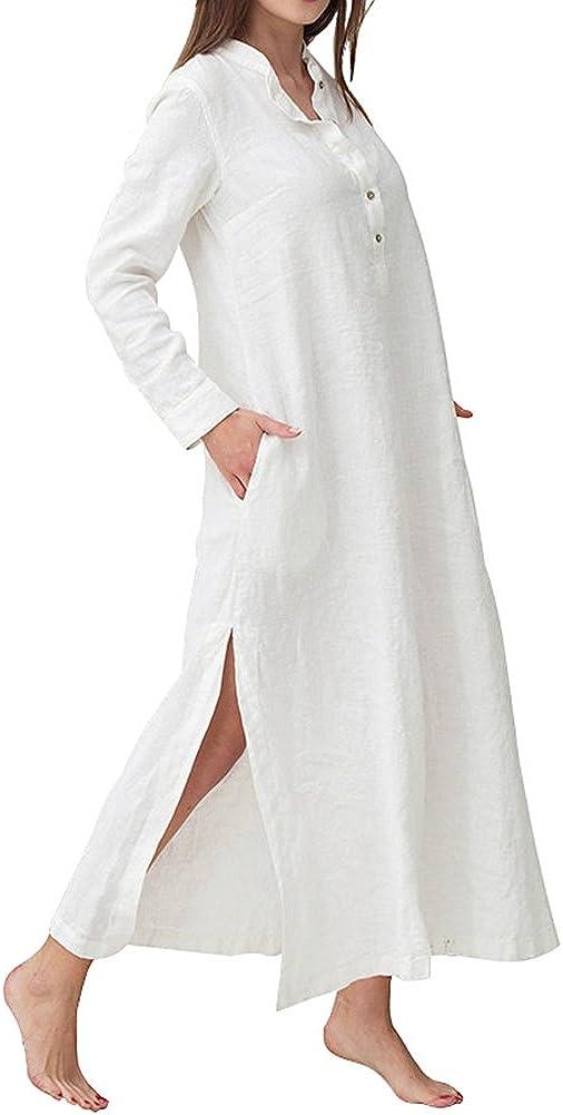HIUPEB Women's Plus Size Long Sleeve Cotton Linen Split Kaftan Maxi Dress S-3XL