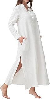 Women's Plus Size Long Sleeve Cotton Linen Split Kaftan Maxi Dress S-3XL