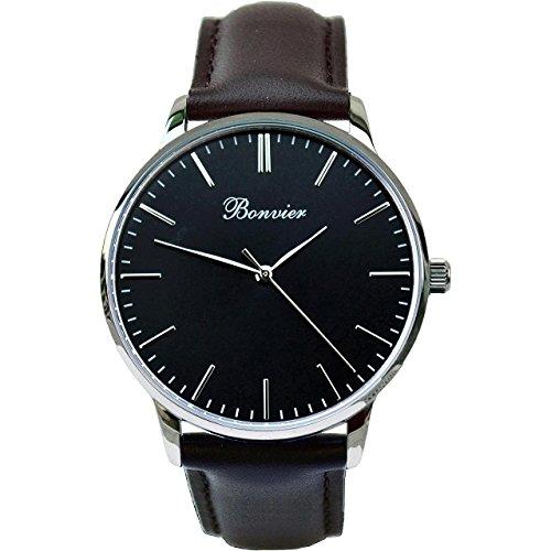 Bonvier Classic Herren-Armbanduhr 40mm Armband Leder Schwarz Gehäuse Edelstahl Batterie Analog BW014