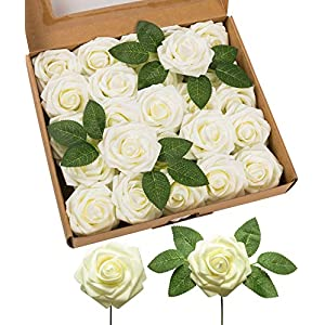 JOEJISN Artificial Flowers Latex Foam Roses 25pcs Real Looking Fake Roses with Stems for DIY Wedding Bouquets Centerpieces Arrangements Cake Flowers Baby Shower Party Home Decorations (Ivory)