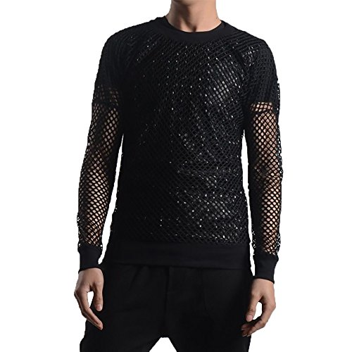 YOUMU Men See Through Fishnet Mesh Long Sleeve Shirt T-Shirt Dance Gothic Punk Fashion Top Clubwear Black (2XL/US Large)