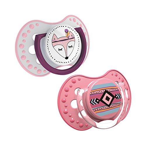 LOVI 2x dynamischer Silikon-Schnuller | ab 6 bis 18 Monate | Hygienische Abdeckung | Beruhigende Wirkung | Schützt den Saugreflex | BPA frei | Kann ausgekocht werden | Indian Summer Girl | Rosa