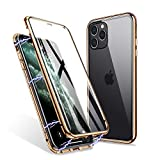 iPhone 11 Pro Max Case, ZHIKE Magnetic Adsorption Case Front and Back Tempered Glass Full Screen Coverage One-Piece Design Flip Cover [Support Wireless Charging] (Clear Golden)