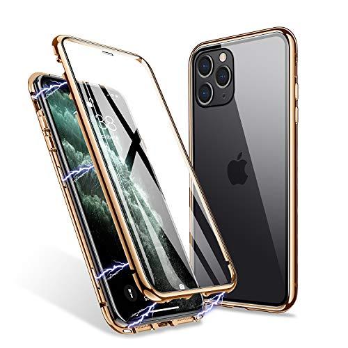 ZHIKE Funda iPhone 11 Pro, Estuche de Adsorción Magnético Frente y Parte Posterior de Vidrio Templado Cobertura de Pantalla Completa Diseño de una Pieza Cubierta con Tapa para Apple 11 Pro (Dorado)