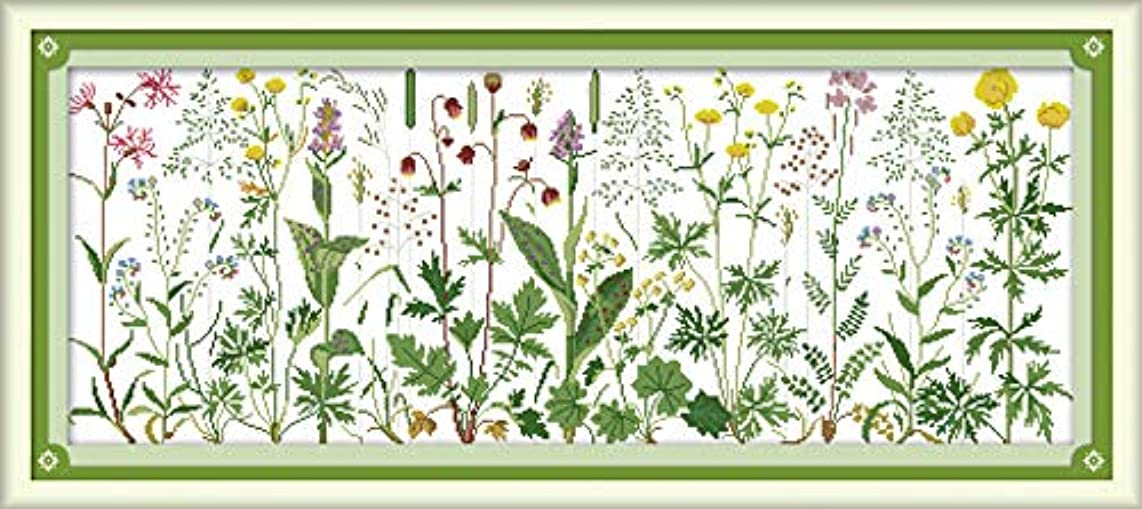 Joy Sunday Cross Stitch Kit 14CT Stamped Embroidery Kits Precise Printed Needlework - Flowers on The Meadow 85×36CM