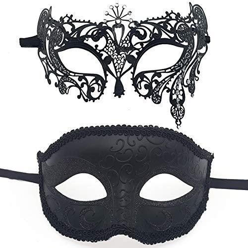 Sunarrive Maskenball Venezianische Masken - Faschingsmasken Karneval Fasching Maske - Schwarz Augenmaske Halloween Maske für Damen Herren Paar