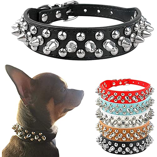 PETCARE Spiked Dog Collar Black Soft Pu Leather Funny Mushrooms Rivet Spike Studded Puppy Adjustable Outdoor Dog Collars for Small Medium Large Dogs Cats
