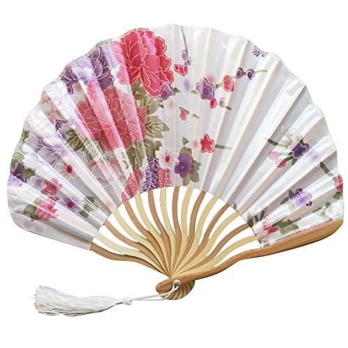 siqiwl Abanico plegable 1 pieza de estilo chino de mano de seda de bambú plegable abanico vintage de bambú plegable de mano abanico regalo de cumpleaños fiesta en casa