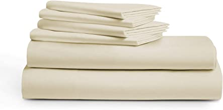 IVORY QUEEN Sheets - 100% Pure Egyptian Cotton 6-Piece 1000-Thread-Count Luxury 5 Star Hotel Collection Bedding Set - Wrinkle Free, Soft & Silky Sateen Weave, Fits Mattress Upto 18'' Deep Pocket