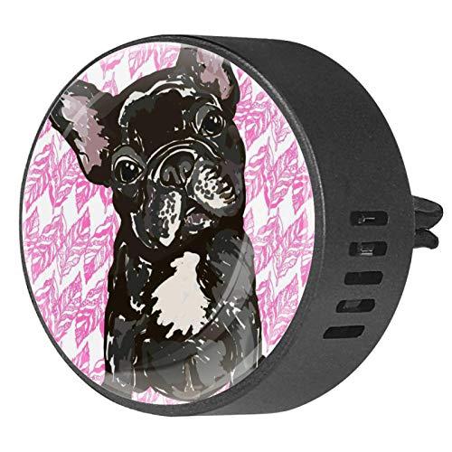 2PCS Car Aromatherapy Essential Oil Car Diffuser Fragrance Vent Clip Air Freshener Puppy French Bulldog