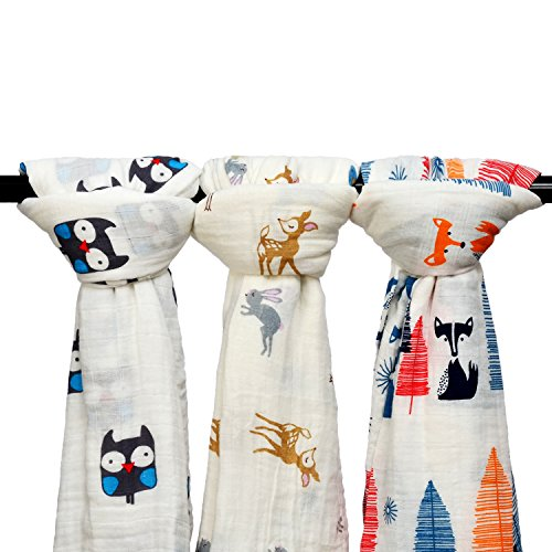 Final Home 3 Pack Baby Muslin Baby Swaddle Wrap Blankets, 47x47 inches Organic Cotton Muslin Receiving Blanket for Unisex Shower Gift (Owl & Deer & Fox)