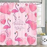 Valentine Duschvorhang, Happy Valentine's Day mit rosa Herz & Flamingo Pink Duschvorhang für Valentinstag Thema, Romantisches Herz Duschvorhang Set mit Haken, 70 Zoll