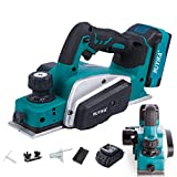 RUYIKA 21V Cordless Planer, 4.0Ah Li-ion 82mm Maximum Planning Width Blue