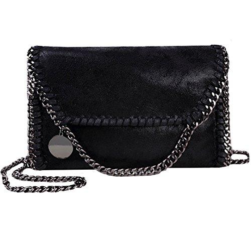 AiSi Leder Handtasche mit Kette, Lässig Stil Handtasche, Metallic Umhängetasche mit Kette (schwarz)