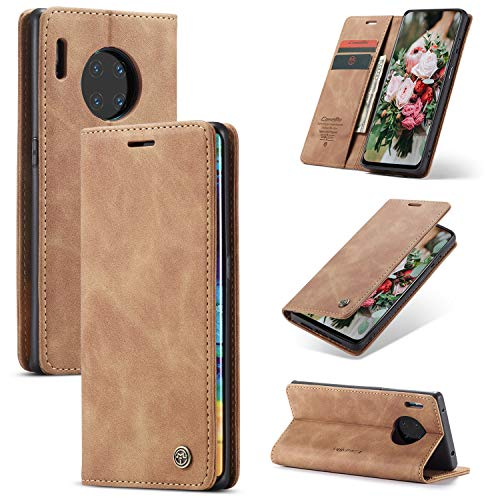 FMPC Handyhülle für Huawei Mate 30 Pro Premium Lederhülle PU Flip Magnet Hülle Wallet Klapphülle Silikon Bumper Schutzhülle für Huawei Mate 30 Pro Handytasche - Braun