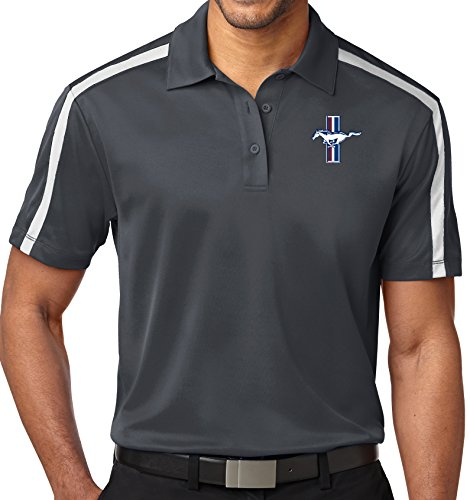 Mens Ford Legend Lives Crest Colorblock Stripe Polo Shirt (Pocket Print), 4XL Steel Grey/White