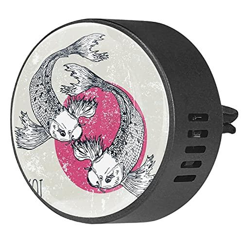 Difusor de aromaterapia para coche,Ilustración de peces koi ,Clip de ventilación de desodorante de área redonda 2PCS Aceite esencial para difusor de automóvil
