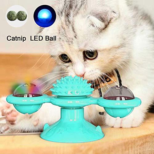 PETTOM Katzenspielzeug Windmühle Spielzeug mit Katzenminze Ball und LED Lichtkugel interaktives Spielzeug für Katzen, Katze Haarbürste Plattenspieler Massage Kratzen Tickle Toy mit Saugnapf
