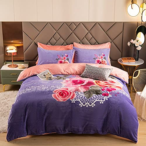 Juego de sábanas de Flores púrpuras de Felpa de Franela cálida con Aislamiento Funda de Almohada Flat & amp;Sábana Ajustable, Completa