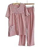 Marshel レディース ルームウェア パジャマ 半袖 夏 デザイン ぱじゃま 上下2点セット レッド×ホワイト チェック M