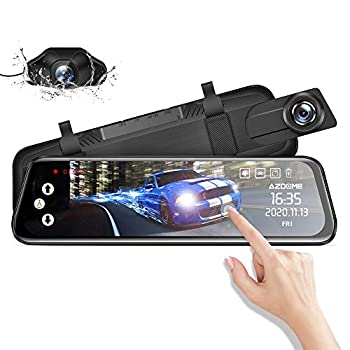 Mirror Dash Cam for Car AZDOME 10  Touch Screen ,1080P HD,170 °Wide Angle Front and Rear Car Camera with WDR Night Vision G-Sensor Lane Departure Warning System,Parking Assistance
