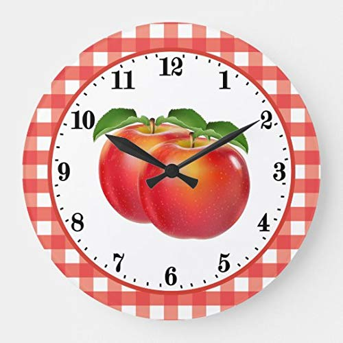 onepicebest Round Wooden Wall Clock, Cute Red Apple Lovers Kitchen Decor Large Clock, 12 Inch
