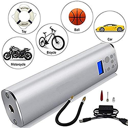 WASDQE elektrische Luftpumpe für Fahrradreifen, verwendet für Autoreifen,Schwimmringe, Ballonspielzeug, aufblasbare 12V 130PSI Handluftpumpe, multifunktionale Luftpumpe mit LED-Leuchten-Silver