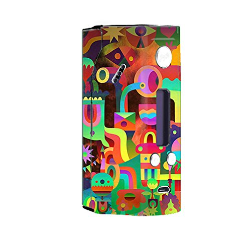 Skin Decal Vinyl Wrap for Wisemec Reuleaux rx200 or evolv dna 200 Vape Mod Box / Colorful Cartoon Design