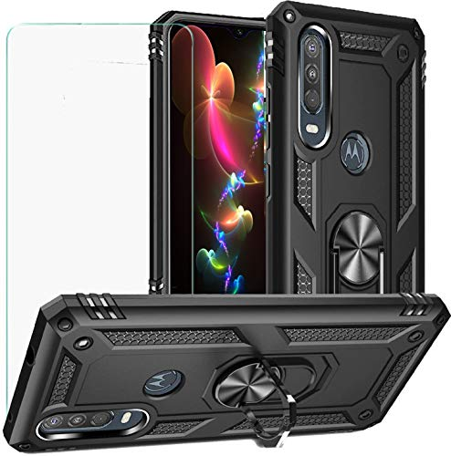 DuoLide for Motorola Moto One Action/Moto P40 Power Case with Tempered Glass Screen Protector,Hybrid Heavy Duty Dual Layer Anti-Scratch Shockproof Defender Kickstand Armor Case Cover, Black