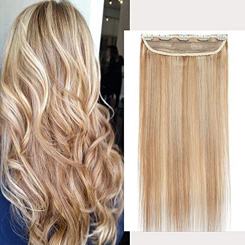 Clip in Extensions Echthaar - Remy Echthaar Haarteil 1 Tresse mit 5 clips Haarverlängerung 50cm-95g (#18/613 Light Aschblond/Weißblond)