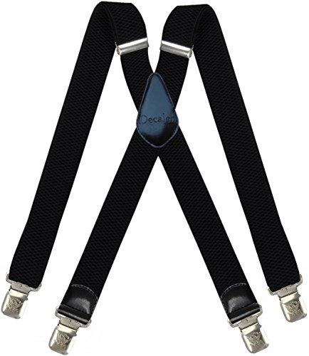 Decalen Hosenträger für Herren breit extra starken 4 cm mit 4er Clips X Form Lange für Männer und Damen Hose (Schwarz 3)