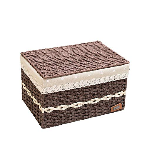 Heding Storage Basket,box Toy Clothes Flip Cover Cotton Lining Hand Weaving Stylish And Beautiful Bedroom Plant Fibres, 3 Sizes (Color : BROWN, Size : 35X24X21CM)