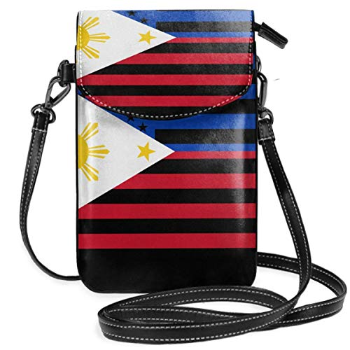 Ives Jean Monedero pequeño para teléfono celular con bandera filipina americana, monedero para teléfono inteligente con correa extraíble