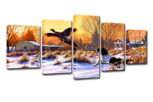 dianlan Painting Canvas Wall Art Pheasant Puppy 5 Panels Decorative Artwork Prints HD Pictures for Bedroom Framed Wall Hanging Painting Creative Gift(No Frame)