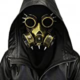 HIBIRETRO Steampunk Metal Gas Mask with Goggles, Full Face Skeleton Warrior Death Mask Helmet for Masquerade Cosplay Halloween Costume - Gold II