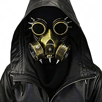 HIBIRETRO Steampunk Metal Gas Mask with Goggles Full Face Skeleton Warrior Death Mask Helmet for Masquerade Cosplay Halloween Costume - Gold II