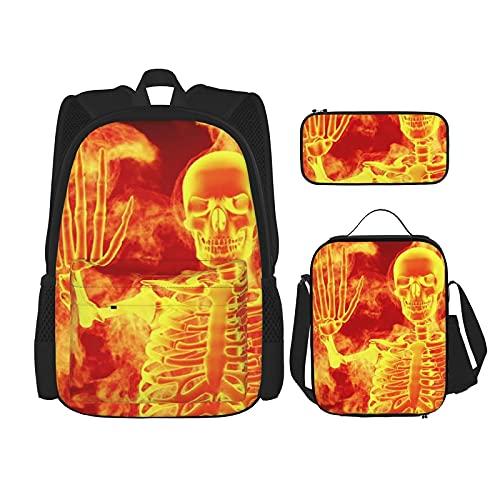 Halloween Fire Skull Skelet Beste Gift Voor Studenten 3 In 1 Set Waterbestendig Rugzakken/Grote Capaciteit Potlood Cases…