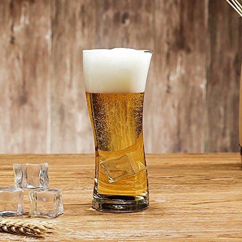 YJZQ Glas Bierkrug Original Bierseidel Getränke Trinkbecher 0,4 Liter Bierglas Transparent Bierhumpen für Party Bar KTV spülmaschinenfest