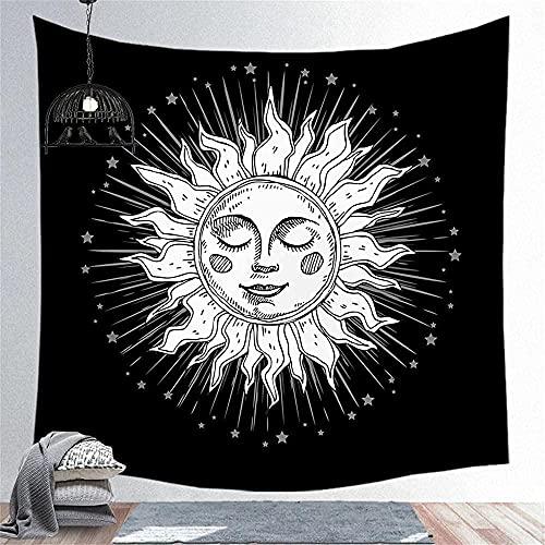KBIASD Tapiz de decoración de Pared de Tela de Sol Blanco y Negro para Dormitorio Sala de Estar Cortina de Dormitorio 150X200CM